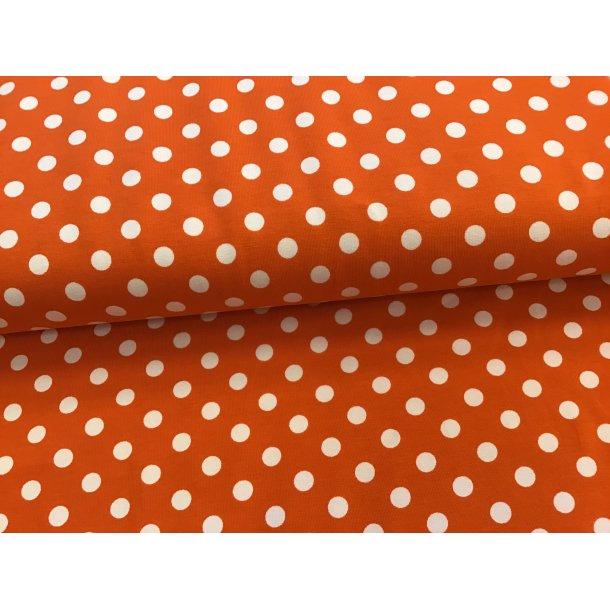 Jersey prik, 1 cm hvid, orange bund