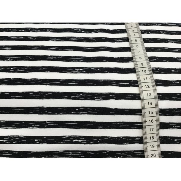 Jersey strib, 1 cm asymmetrisk sort/hvid