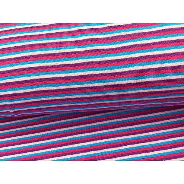 Jersey strib, smal lys lilla/lilla/turkis/pink