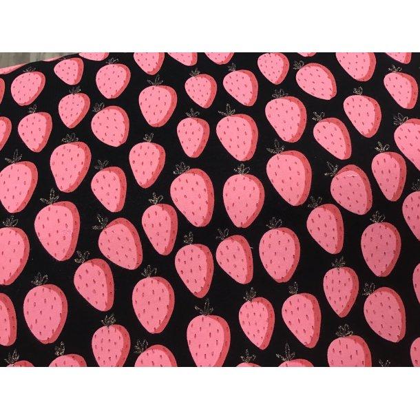 Jersey digital, jordbær m. glimmer blomst, sort bund, French terry