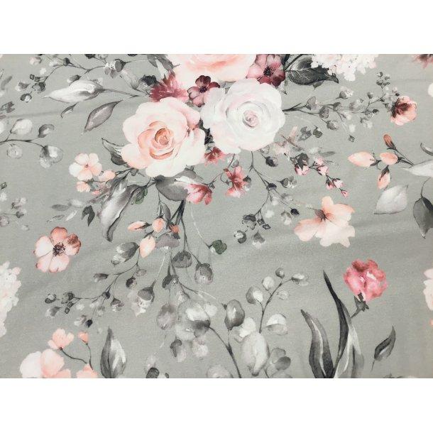 Jersey digital, buket m. hvide og laksefarvede roser, lysegrå bund