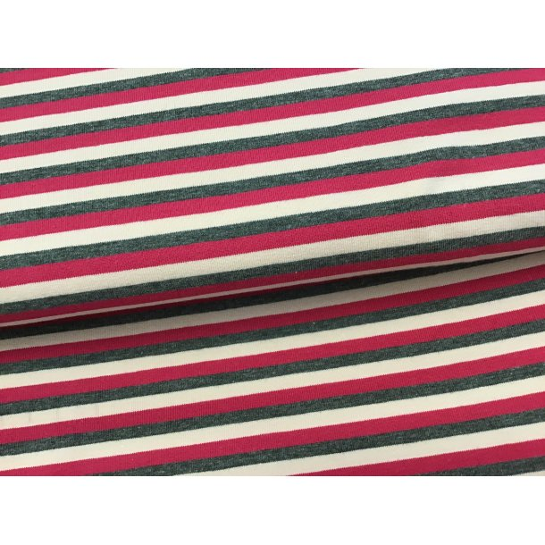 Jersey strib, pink/lyserød/koksgrå