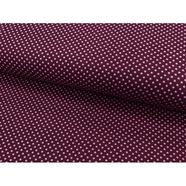 Jersey prik, mini lyserød, bordeaux bund