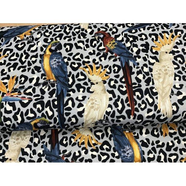 Jersey digital, papegøje og kakadue på leopard prik, lyseblå bund