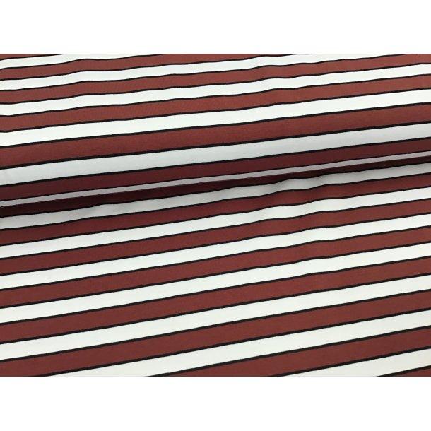 Jersey strib, vinrød/hvid, smal sort imellem
