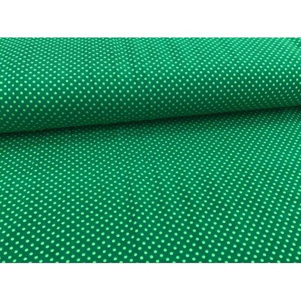 Jersey prik, mini lys grøn, grøn bund