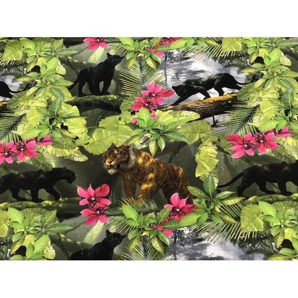 Jersey digital, panter og tiger m. orkideer og skov