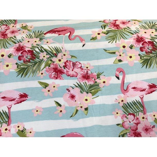 Jersey digital, flamingo og hawaii blomster, blå/hvid strib