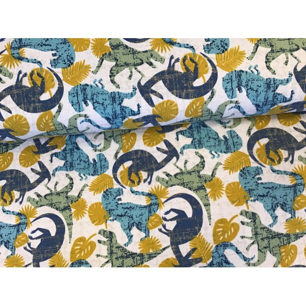Jersey, blå og grå dinoer, karry blade, hvid bund