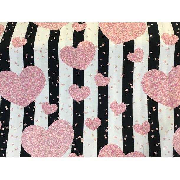 Jersey digital, lyserøde hjerter, sort/hvid strib