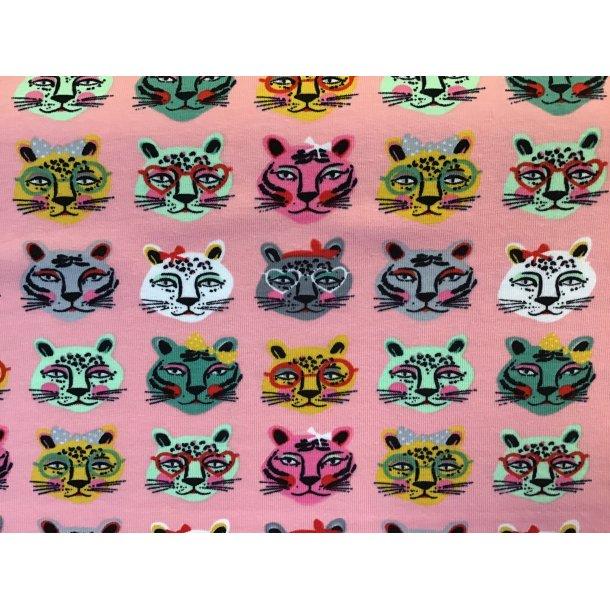 Jersey, katte hoveder i forskellige farver m/u sløjfer og briller, lyserød bund