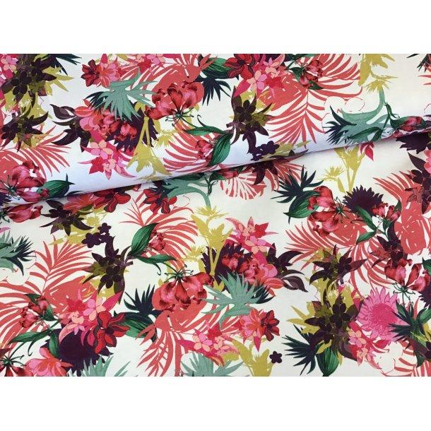 Jersey digital, eksotiske blomster, laks/pink/karry/bordeaux, hvid bund