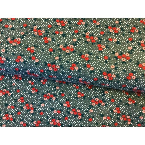 Jersey, rød/lyserød små blomster, grøn bund m. hvid mini prik