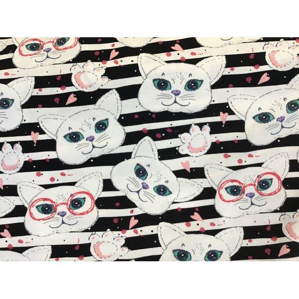 Jersey digital, hvide katte hoveder, poter og lyserøde hjerter, sort/hvid strib