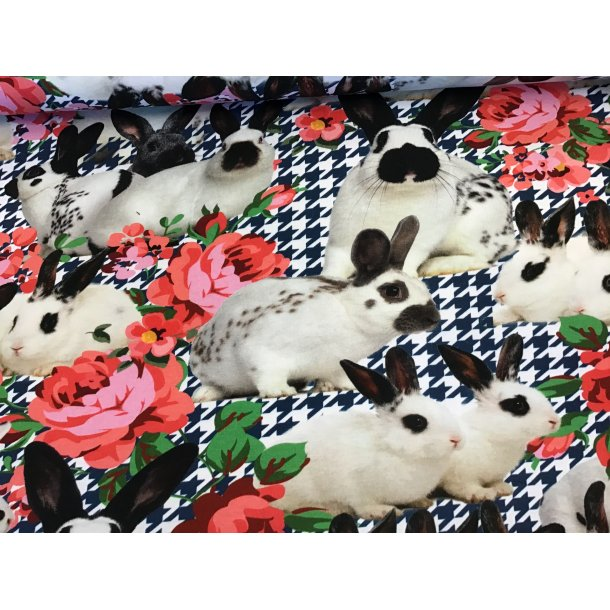 Jersey digital, søde hvide kaniner m. sorte øre, i blomster og sort/hvid hanefjed