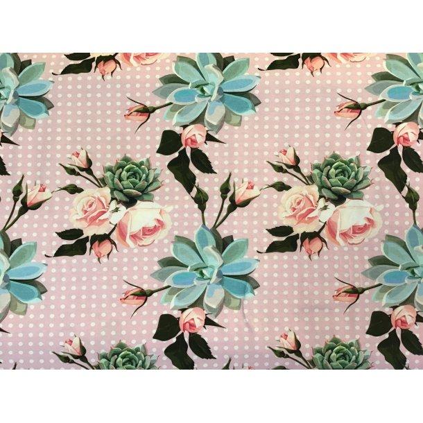 Jersey digital, lyserøde roser, lyserød bund m. hvide prikker