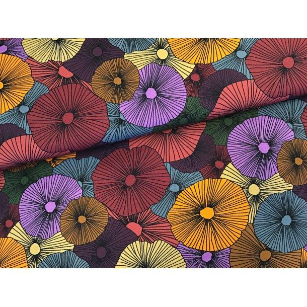 Jersey digital, karry/bordeaux/petrol og andre farver, store retro blomster
