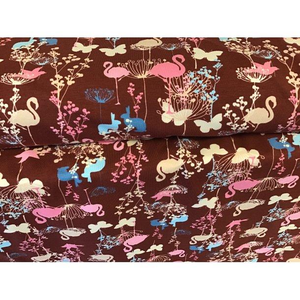 Jersey digital, flamingo, lyse sommerfugle og blå kaniner, bordeaux bund