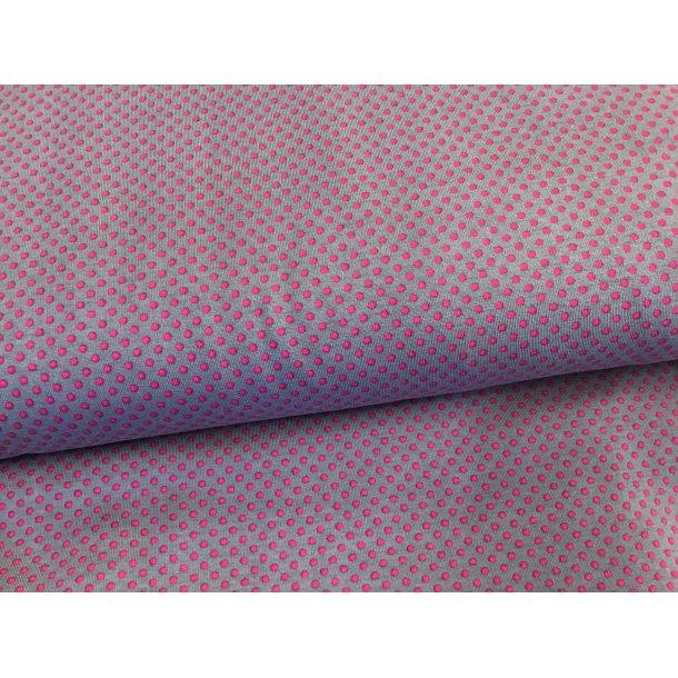 Jersey prik, mini pink, grå bund