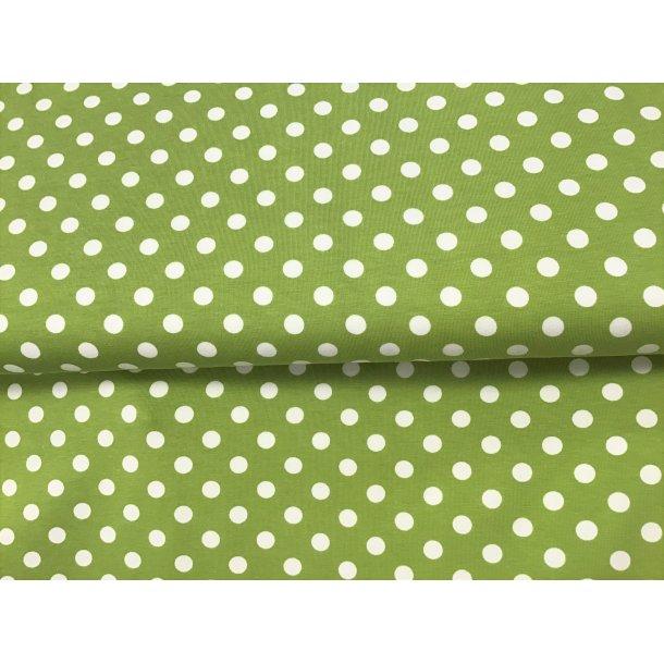 Jersey prik, 1 cm hvid, special sommer grøn bund