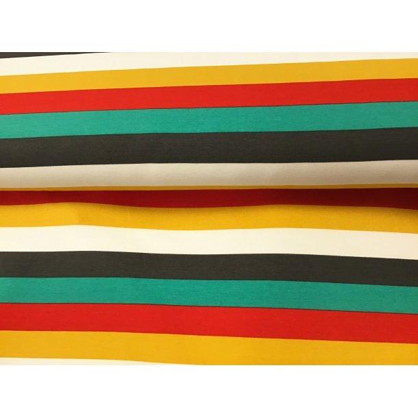 Jersey strib, 3 cm bred koksgrå/hvid/rød/karry/grøn