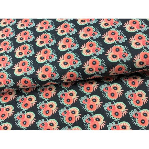 Jersey, lyserød/pink fantasi mønster, cirkler, prikker, stave (lidt svær at forklare), petrol bund