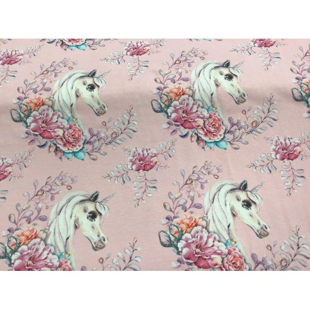 Jersey digital, hvid enhjørning i blomster hestesko, lyserød bund