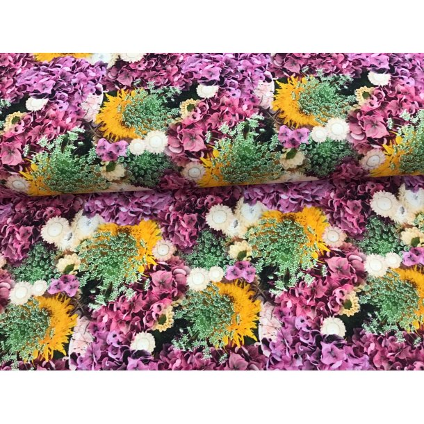 Jersey digital, lilla hortensia sammen med hvide/gule og grønne blomster