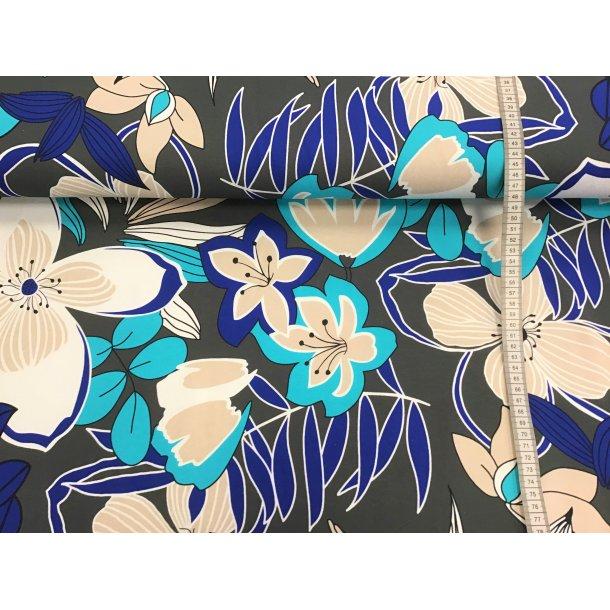 Jersey, hvid/turkis/kobolt blå blomster, grå bund