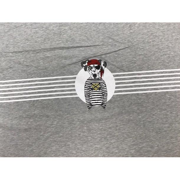 French Terry, pirat dalmatiner m. hvid strib, grå bund PANEL