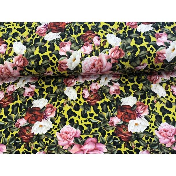 Jersey digital, lyserøde/bordeaux roser, gul leopard bund