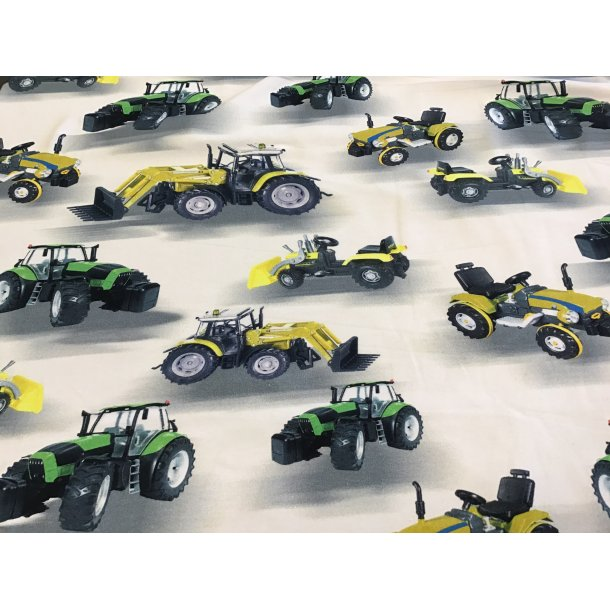 Jersey digital, grøn og gul traktor, hvid bund