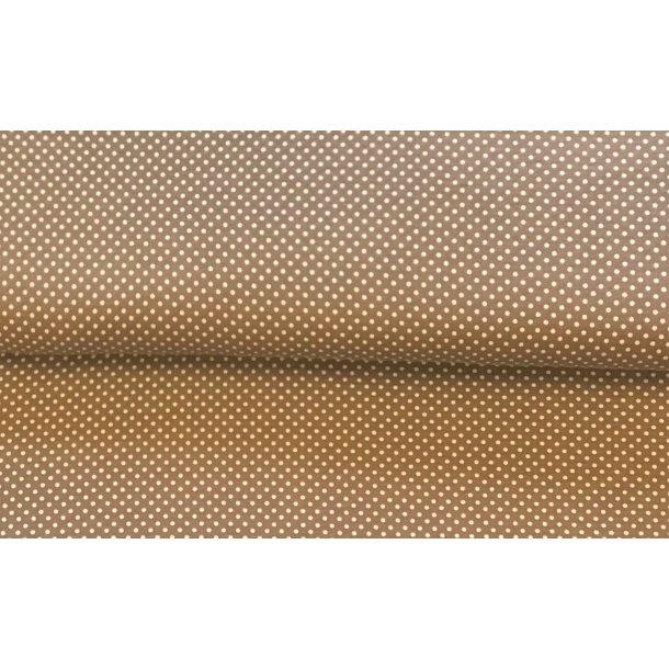 Jersey prik, mini hvid, lys brun bund