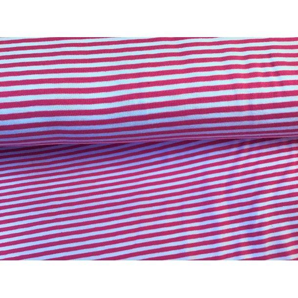 Jersey strib, smal pink/hvid