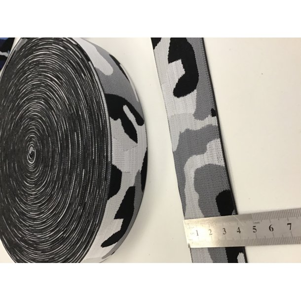 Elastik, army/camo grå toner, 4 cm
