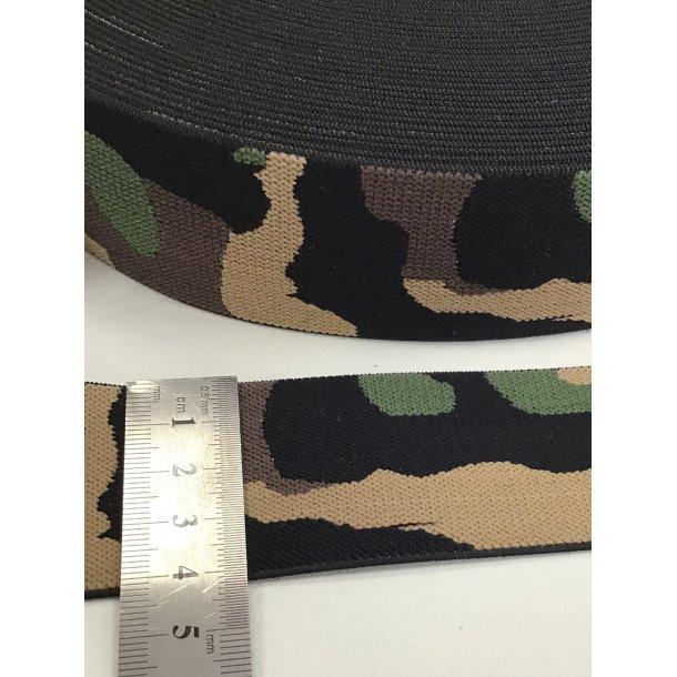 Elastik, army/camo grøn/brun 4 cm