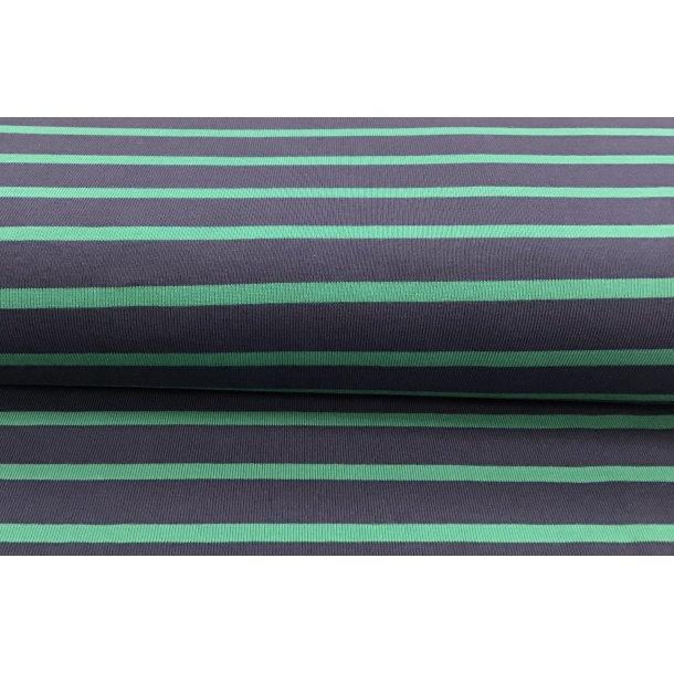 Jersey, rib strikket grøn/marine blå strib