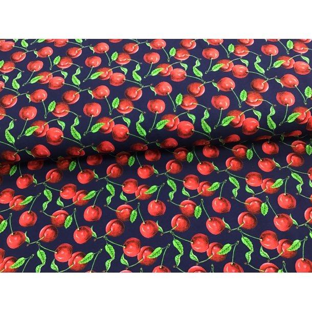 Jersey digital, kirsebær m. grønne blade, marine blå bund