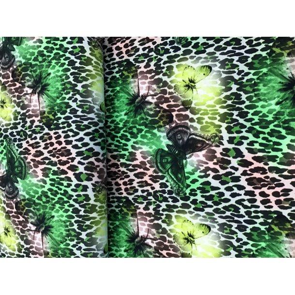 Jersey digital, gule/grønne sommerfugle, leopard bund