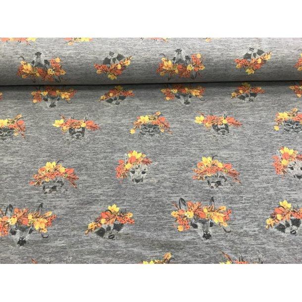 Jersey, stregtegnet bambi,vaskebjørn,kanin og mange flere m. orange blomster, grå meleret bund