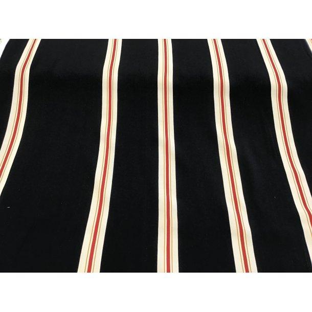 Fast viskose, sort m. hvid og rød strib