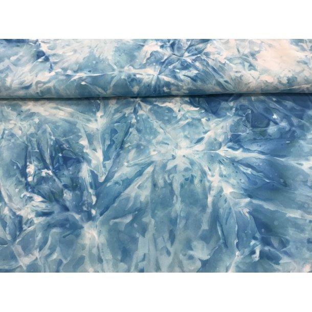 Fast viskose, meleret mønster, batik look a like, blå