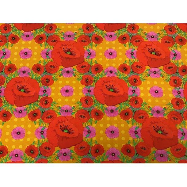 Jersey digital, røde/lyserøde valmuer i 4kant mønster, karry prikket bund