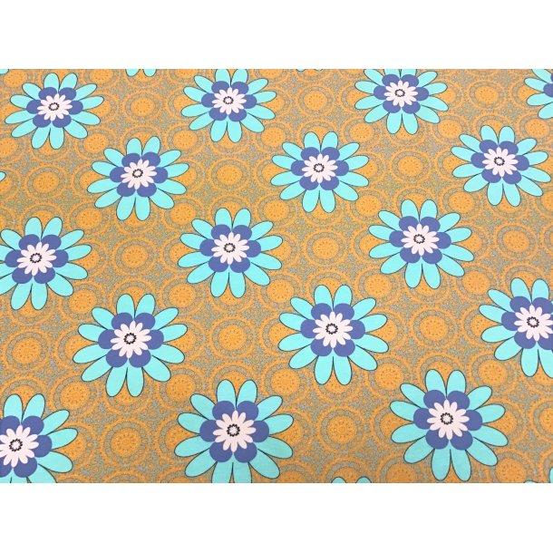 Jersey digital, flotte turkis/hvid/blå blomster, karry bund m. cirkler