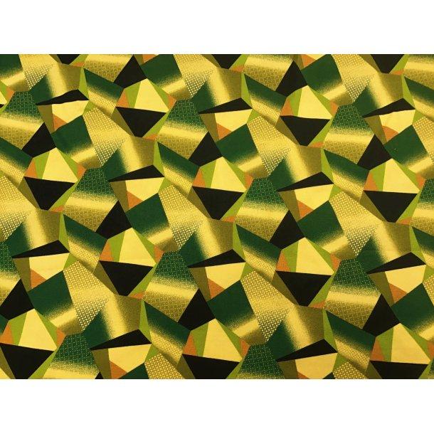 Fast viskose, 5 kantet mønster, army grønne toner
