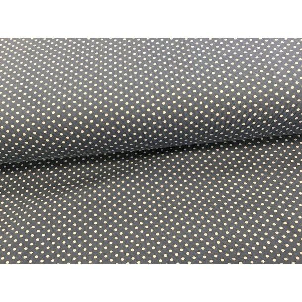 Jersey prik, mini hvid, lys grå bund