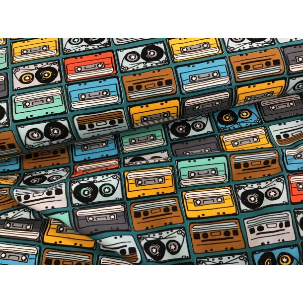 Jersey, kassette bånd, brun/blå/grå/rød