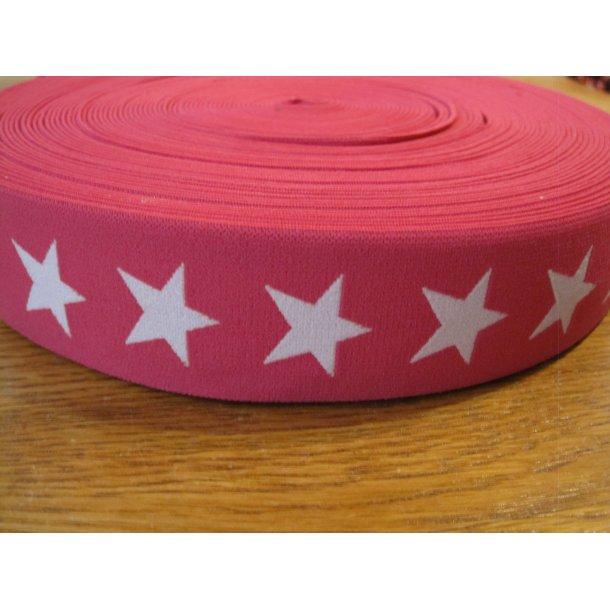 Elastik, Pink m. hvide stjerner, 4 cm