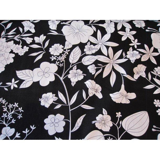 Fast bomuld m. let stræk, Flotte hvid blomster, sort bund