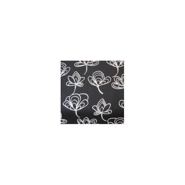 Fast bomuld lærred, Hvide stregtegnede blade, sort bund